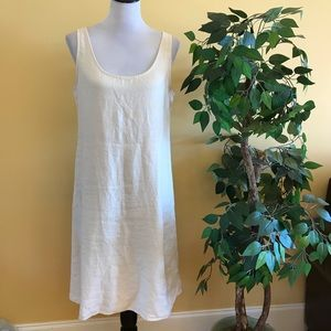 Eileen Fisher Cream Sleeveless Linen Midi Dress